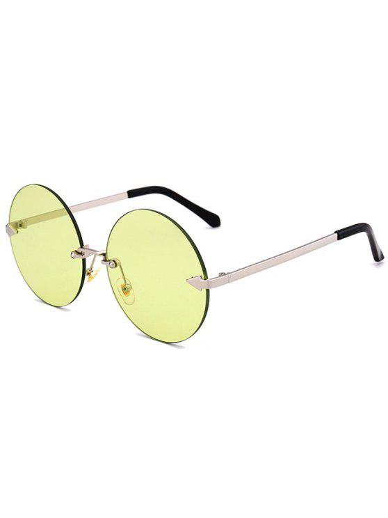 shops Jelly Lens Round Rimless Sunglasses - CELADON