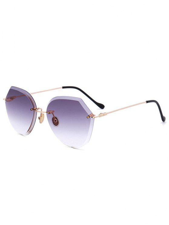 fancy Ombre Lens Metallic Legs Rimless Sunglasses - LIGHT PURPLE
