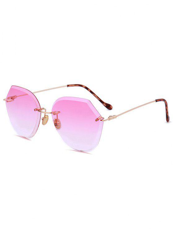 unique Ombre Lens Metallic Legs Rimless Sunglasses - LIGHT PINK