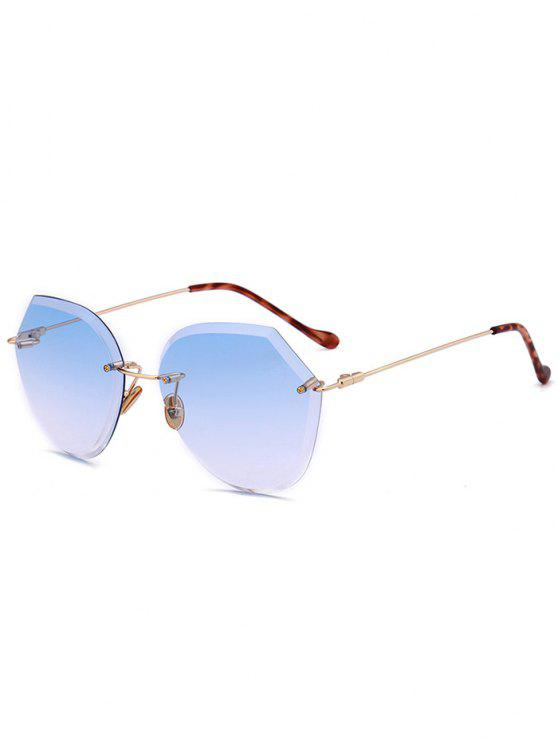 womens Ombre Lens Metallic Legs Rimless Sunglasses - LIGHT BLUE