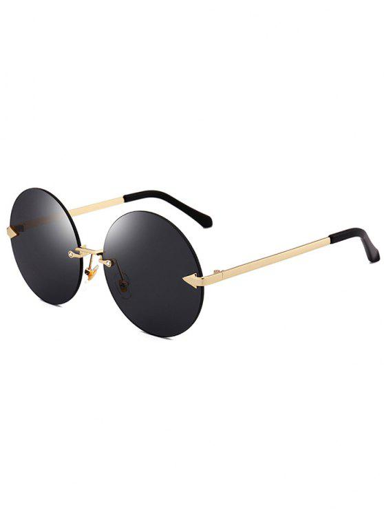 lady Jelly Lens Round Rimless Sunglasses - BLACK