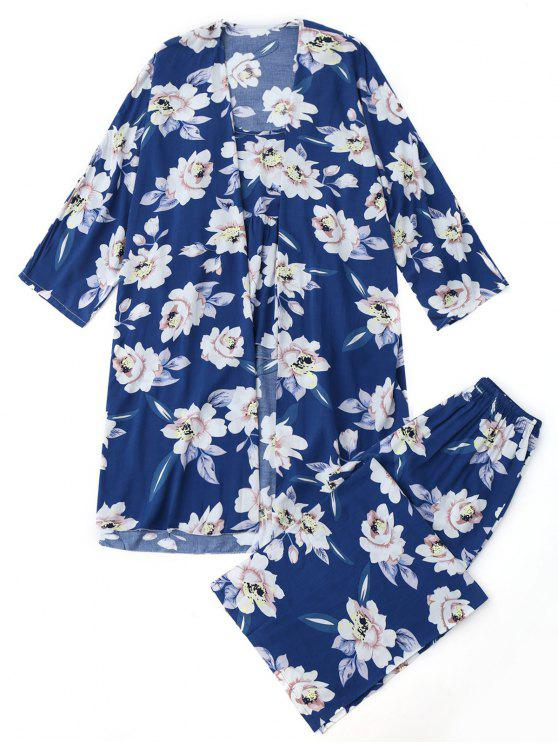 hot Floral Kimono and Cami Top and Pants Pajamas suit - BLUE S