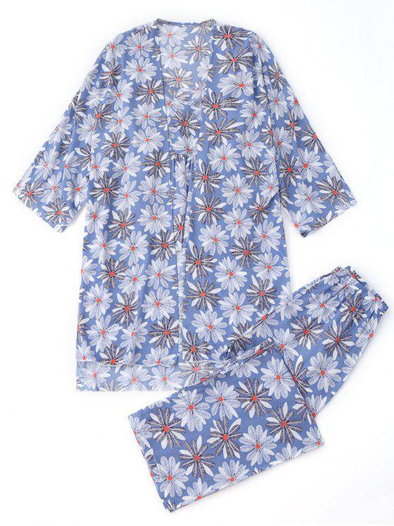 latest Floral Kimono and Cami Top and Pants Pajamas - FLORAL S