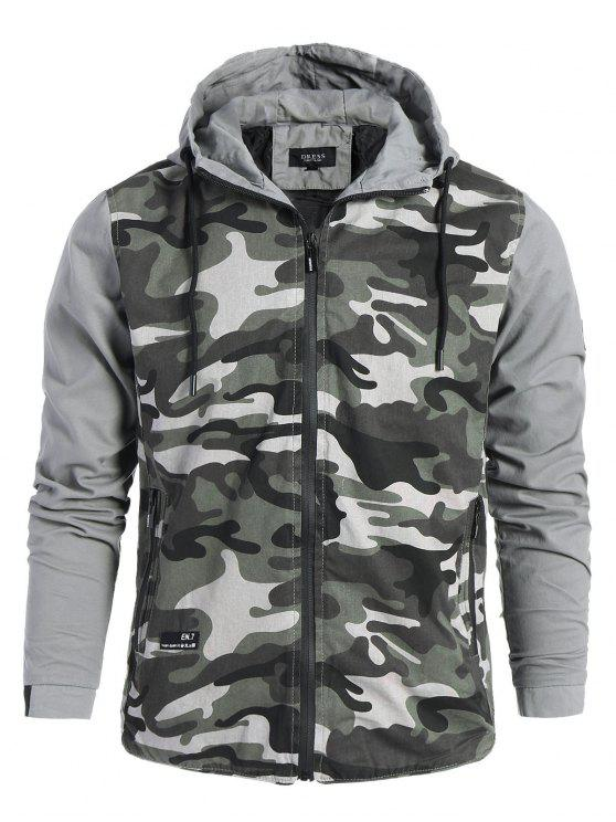 2019 Mens Hooded Camo Jacket In GRAY XL  e046d90188b