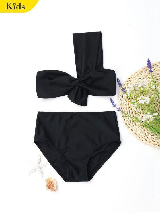 بدلة السباحة بشريط واحد للأطفال - أسود 5T