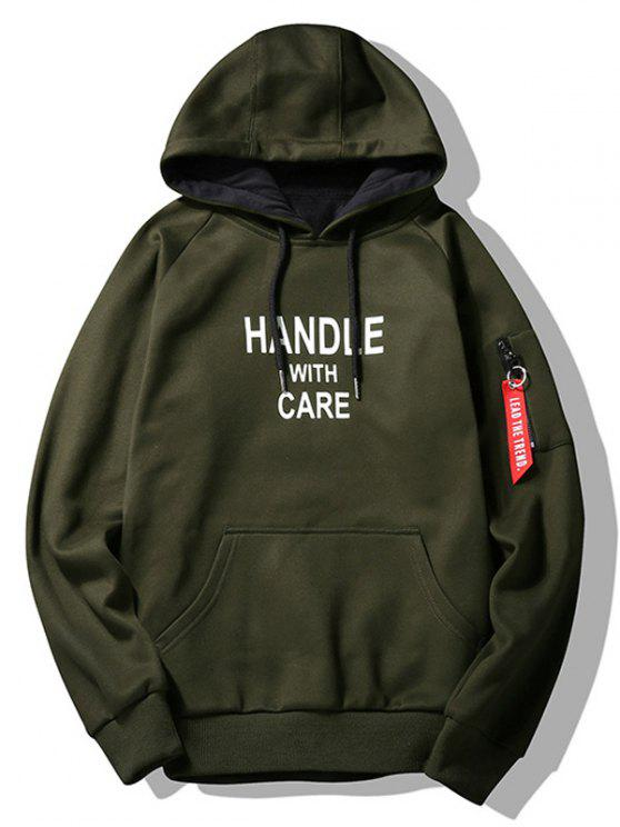 women's Flocking Handle With Care Graphic Hoodie - ARMY GREEN 2XL
