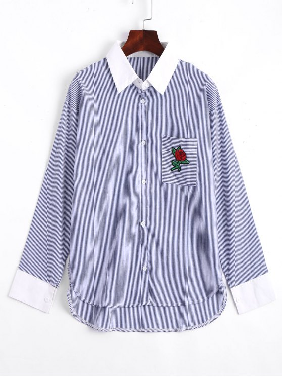 unique Rose Embroidered Stripes High Low Shirt - STRIPE M