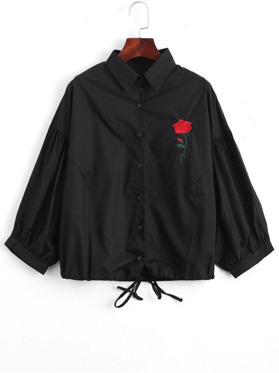 sale Bow Tied Rose Embroidered Shirt - BLACK ONE SIZE