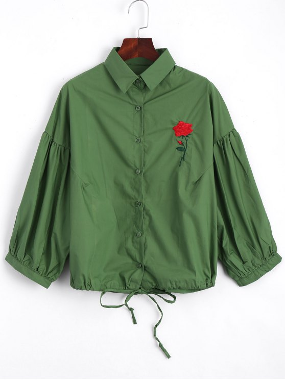 buy Bow Tied Rose Embroidered Shirt - GREEN ONE SIZE