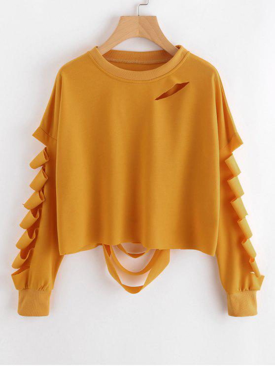 ladies Casual Cutout Ripped Sweatshirt - MUSTARD M