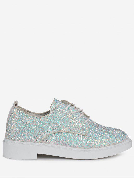 Low Top Glitter Tie Up Flat Shoes - Blanc 37