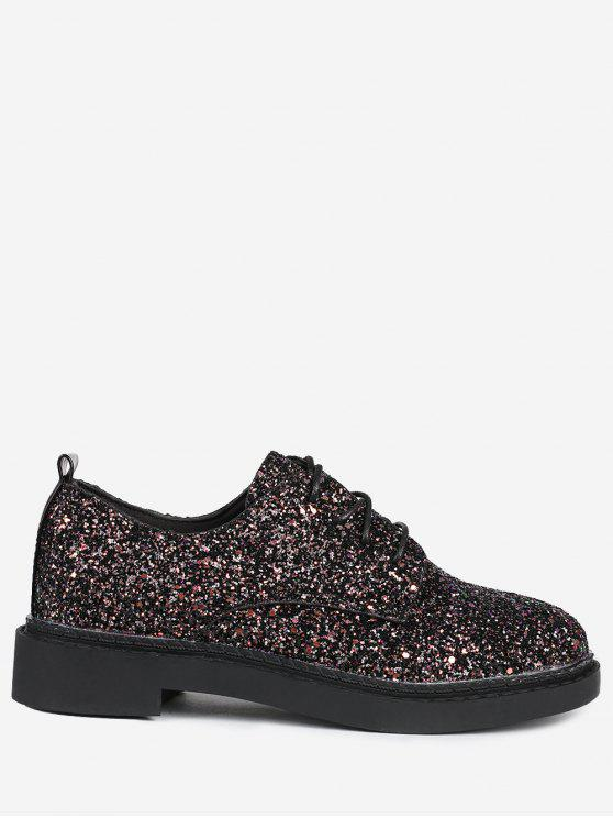 Low Top Glitter Tie Up Flat Shoes - Preto 38