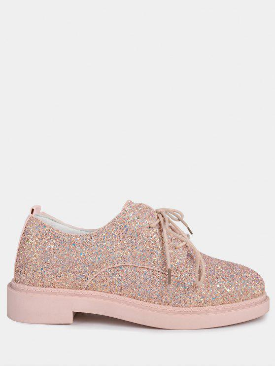 Low Top Glitter Tie Up Flat Shoes - Rosa 37