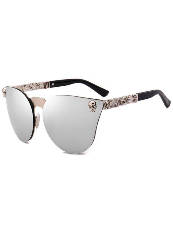 fashion Skull Insert Butterfly Mirror Sunglasses - SILVER