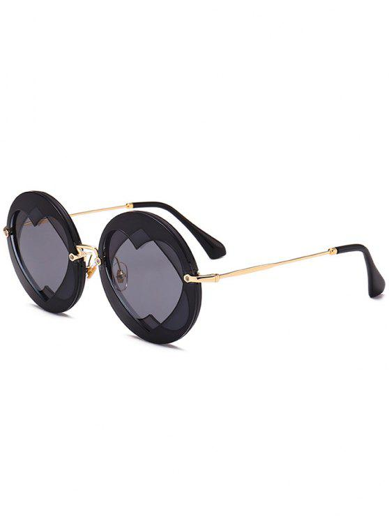 affordable Double Reverse Heart Round Sunglasses - BLACK