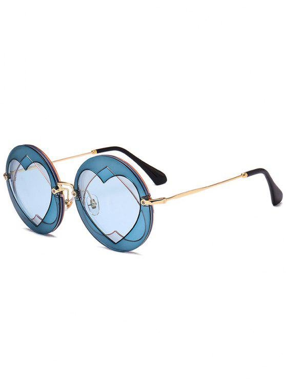 buy Double Reverse Heart Round Sunglasses - BLUE