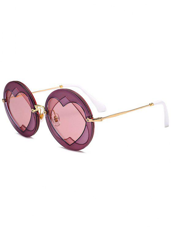 womens Double Reverse Heart Round Sunglasses - TUTTI FRUTTI