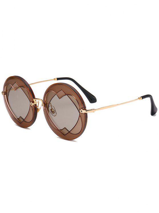 women Double Reverse Heart Round Sunglasses - CHOCOLATE