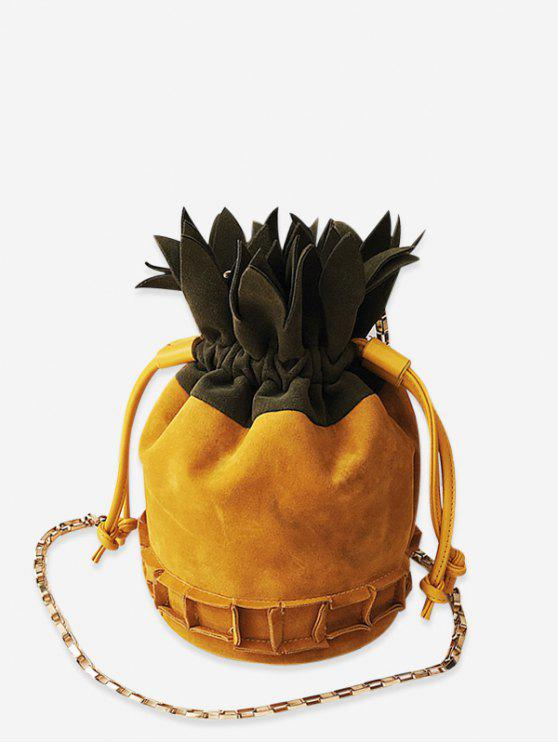 outfits Color Block Pineapple Shape Drawstring Crossbody Bag - YELLOW
