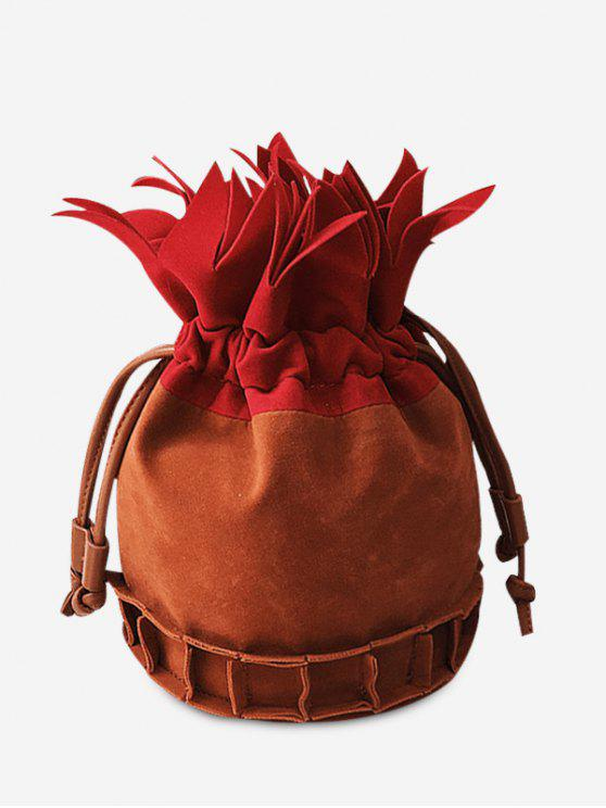 shops Color Block Pineapple Shape Drawstring Crossbody Bag - BROWN