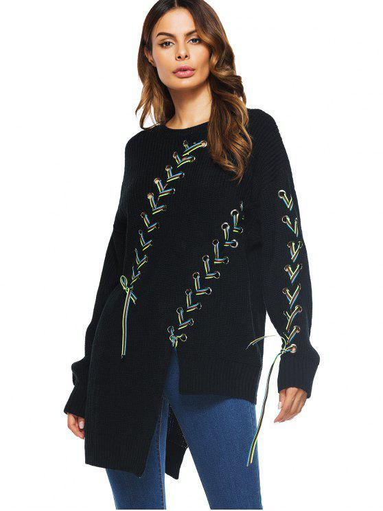 best Long Lace Up Asymmetrical Sweater - BLACK ONE SIZE