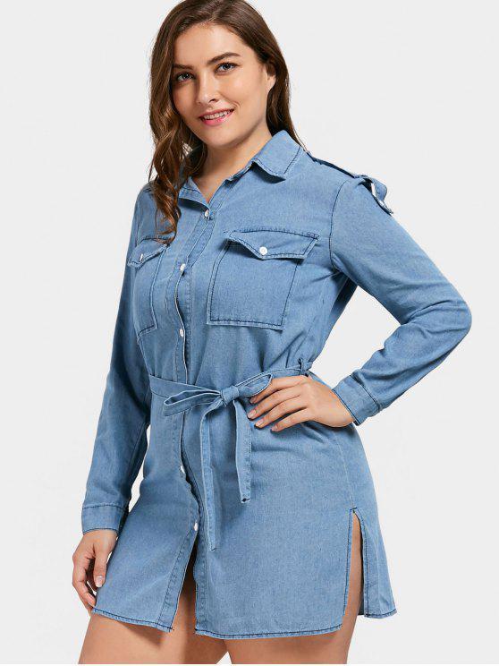 fancy Plus Size Denim Slit Shirt Dress - BLUE 5XL