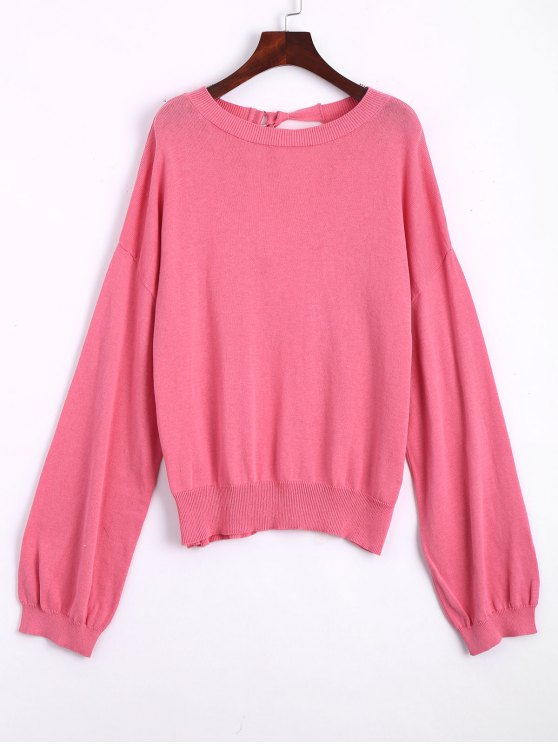affordable Bow Tied Oversized Cut Out Sweater - ROSE RED S