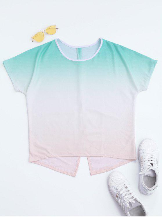 sale Back Slit Ombre T-shirt - COLORMIX M