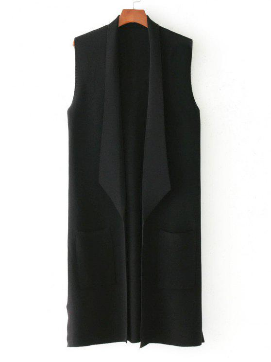 trendy Side Slit Knitted Open Front Waistcoat - BLACK ONE SIZE