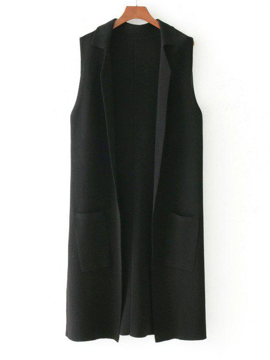 affordable Side Slit Knitting Open Front Waistcoat - BLACK ONE SIZE