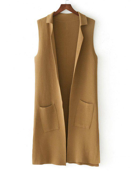 women Side Slit Knitting Open Front Waistcoat - KHAKI ONE SIZE