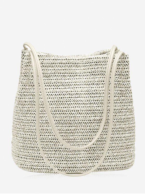 ladies Bucket Straw Shoulder Bag - OFF-WHITE
