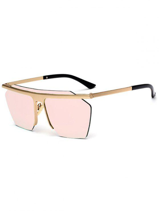 lady Metallic Semi Rimless Mirror Pilot Sunglasses - PINK