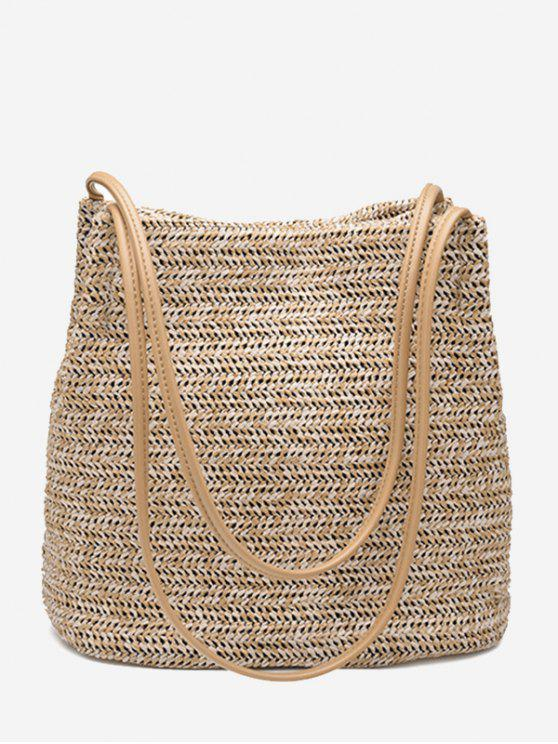 best Bucket Straw Shoulder Bag - PALOMINO