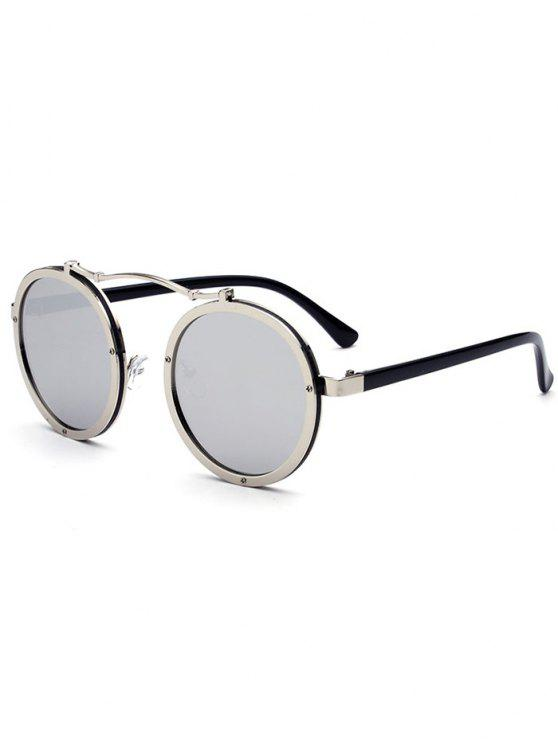 Doppelte Felgen Metall Runde Linsen Sonnenbrille - Silberer Rahmen + Quecksilber Linse