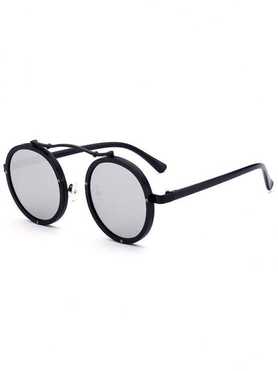 Doppelte Felgen Metall Runde Linsen Sonnenbrille - schwarz+Quecksilber