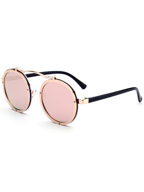 Doppelte Felgen Metall Runde Linsen Sonnenbrille - Golder Rahmen + Rosa Linse