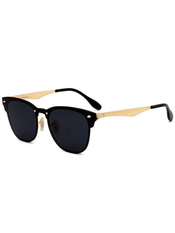 lady Metallic Mirror Wayfarer Sunglasses - BLACK