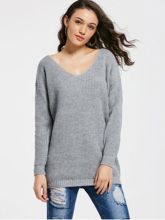 Chunky suéter con cuello en V - Gris Única Talla