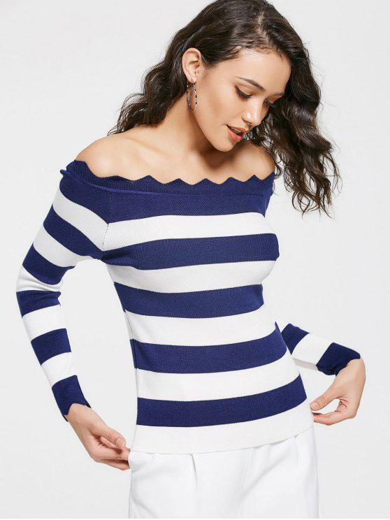 Off The Shoulder Zigzag Striped Knitted Top - Azul Profundo Única Talla