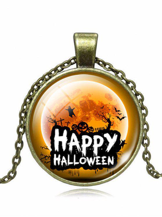 Happy Halloween Ghost Pumpkin Bat Necklace - Bronze