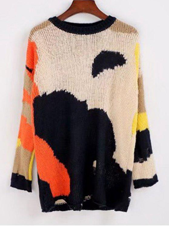 best Contrasting Loose Ripped Sweater - MULTICOLOR ONE SIZE