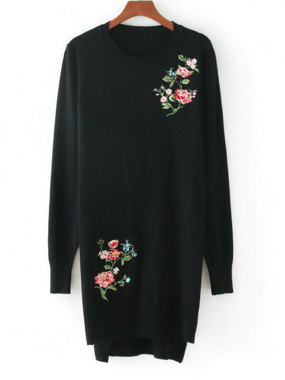 online High Low Floral Embroidered Sweater - BLACK ONE SIZE