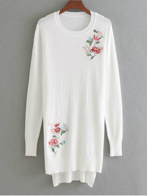 Suéter bordado floral alto bajo - Blanco Única Talla