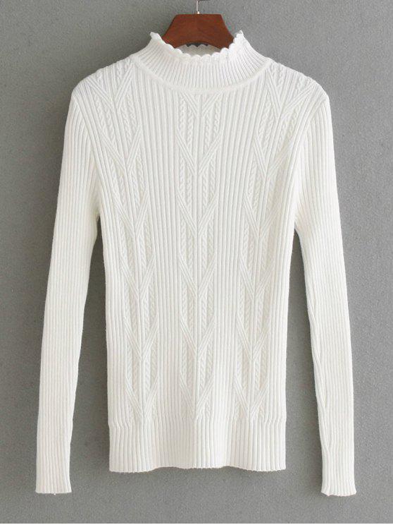 Suéter de panel de punto tejido con hilo horneado - Blanco Talla única