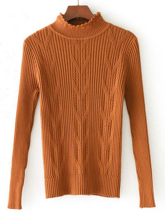 Suéter de panel de punto tejido con hilo horneado - Café Luz Única Talla