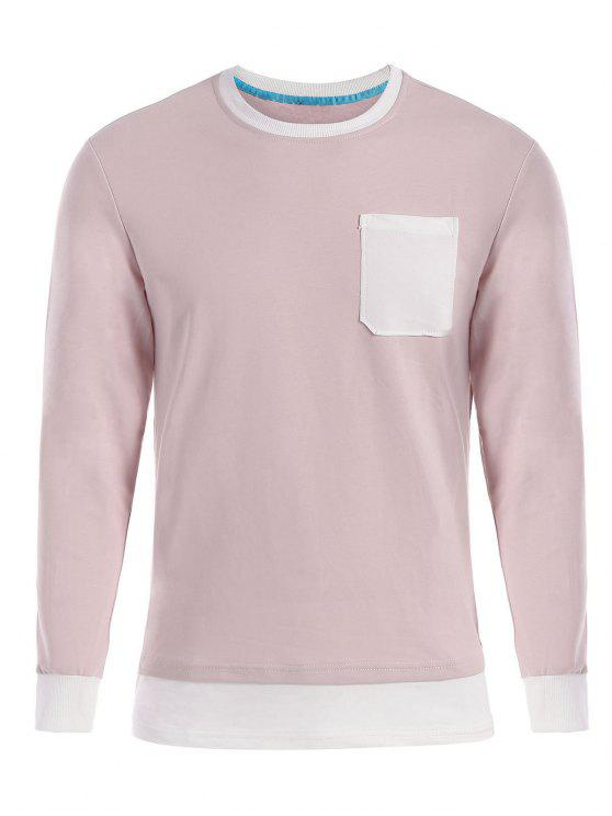 sale Front Pocket Long Sleeve T-shirt - SHALLOW PINK 3XL