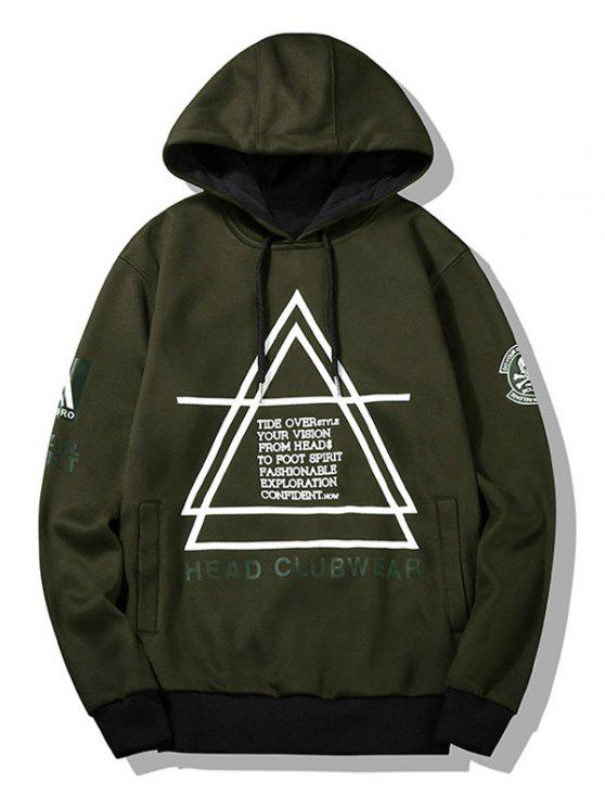 buy Flocking Graphic Mens Hoodie - ARMY GREEN L
