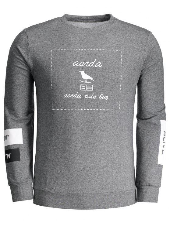 Sweatshirt mit Grafik und Rundhalsausschnitt - Dunkelgrau 2XL
