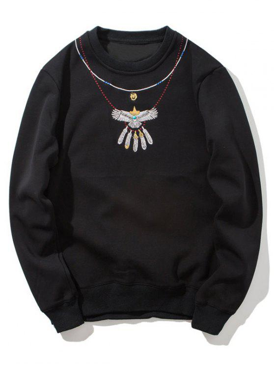 unique Crew Neck Flocking Embroidered Sweatshirt - BLACK L